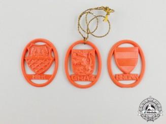 Three Third Reich Period City Badges;  Graz, Brünn, and Eger