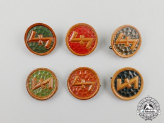 Six WHW Wolfsangel Donation Badges