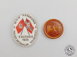 """A 1935 WHW Hamburg """"Day of National Solidarity"""" Badge"""