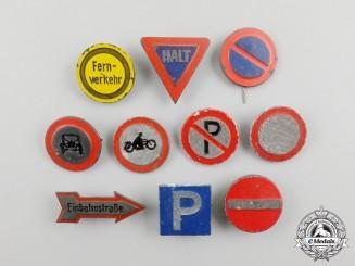 Ten Third Reich Period German Traffic Sign Awareness Badges
