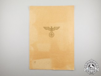 An Outer Folder for an Order of the German Eagle Award Certificate
