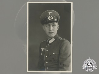 A Wartime Signed Studio Photo of Soldier in Dress Uniform (#30)