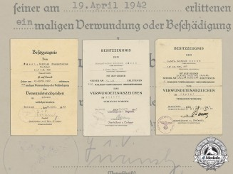 A collection of 3 Wound Badge Documents to the 7th Company of Grenadier Regiment 232