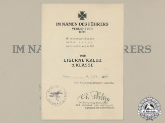An Iron Cross 2nd Class Document to SS-Unterscharführer Walter Remus