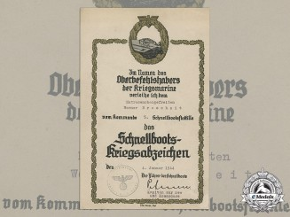 Germany, Kriegsmarine. An E-Boat Badge Award Document to the 5th Fast Attack Craft Flotilla