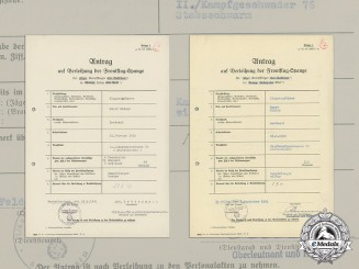 Applications for Front Flying Clasp (Gold and Silver) to Lieutenant Horst Müller (KC)
