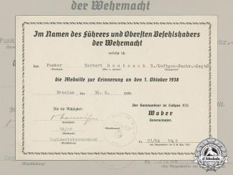 A Sudetenland Medal Award Document to Radio Operator Herbert Rentzsch