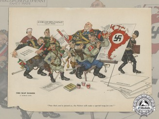 A Propaganda Poster Depicting Leaders of the Axis Alliance Plotting World Domination