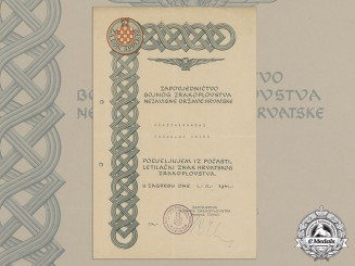 A Second War Croatian Award Document for Honorary Pilot's Badge, 1944