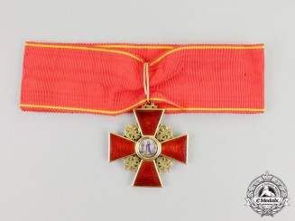 An Imperial Russian Order of St. Anne, 2nd Class Neck Badge, Civil Division in Gold