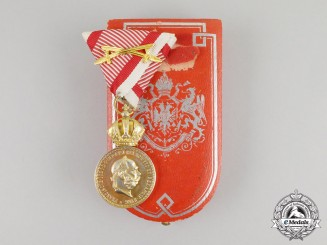 "A Hungarian Made Austrian Military Merit Medal ""Signum Laudis"" in Case"