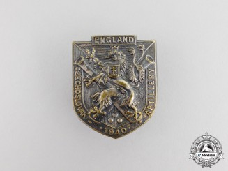 A Second War British-Made Czech Artillery in England Badge 1940