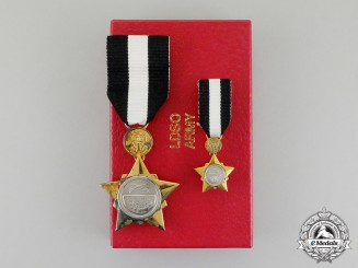A Sudanese Army Long and Distinguished Service Order, Fullsize and Miniature, Boxed