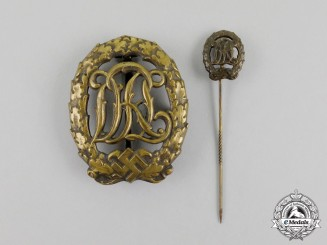 A Bronze Grade DRL Sports Badge with its Matching Stick Pin by Hensler of Pforzheim