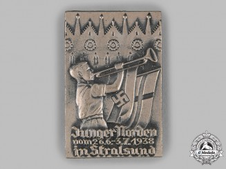 Germany, HJ. A 1938 HJ Stralsund Rally Badge by Friedrich Eitschberger