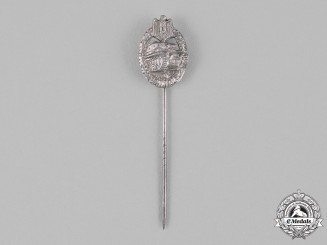 Germany, Wehrmacht. A Panzer Assault Badge Stick Pin, Silver Grade