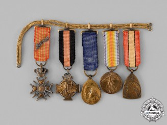 Belgium, Kingdom. Five First War Miniature Awards on a Chain