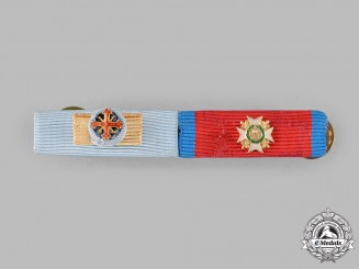 Italy, Kingdom of the Two Sicilies. A Ribbon Bar with Two Miniature Orders