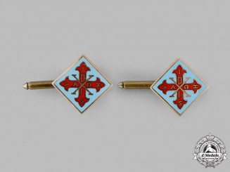 International. A Sacred Military Constantinian Order of Saint George Gold Cufflinks Pair