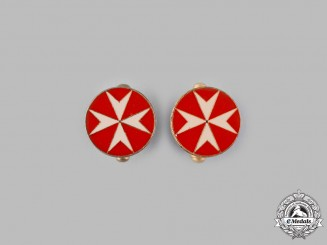 International. A Sovereign Military Hospitaller Order of Saint John of Jerusalem, of Rhodes and of Malta, Cufflinks Pair