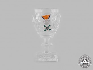 Netherlands, Kingdom. A Military Order of William Award Lead Crystal Wine Glass, c.1875