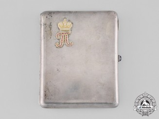 Russia, Imperial. A Fine Silver Cigarette Case featuring Tsar Alexander Cypher in Gold with Diamonds & Rubies