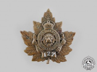 "Canada, CEF. A 127th Infantry Battalion ""12th York Rangers"" Officer's Cap Badge, by Birks, c.1916"