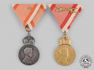 Austria, Imperial. A Pair of Military Merit Medals by Heinrich Kautsch