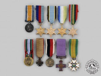 United Kingdom, France, Rhodesia, United Nations, United States, Zimbabwe. A Lot of Ten Miniature Medals