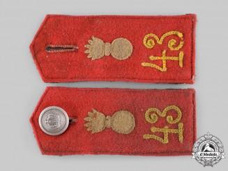 Germany, Imperial. A Set of 43rd Field Artillery Regiment EM/NCO's Shoulder Straps