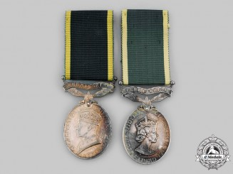 United Kingdom. Two Efficiency Medals to the Royal Army
