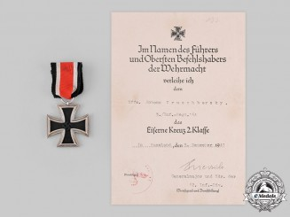 Germany, Heer. A 1939 Iron Cross II Class with Award Document to Unteroffizier Johann Kruschbersky