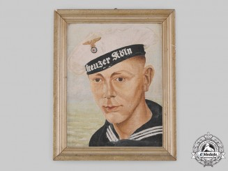 Germany, Kriegsmarine. An Oil Painting of EM/NCO Theodor Wattenberger, Kreuzer Köln