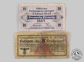 Germany. A Pair of Prisoner of War Camp Currency Notes