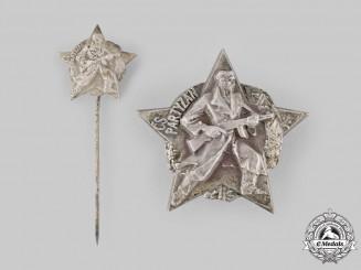 Czechoslovakia, Republic. A Partisan Badge and Stickpin 1939-1945