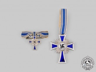 Germany, Third Reich. An Honour Cross of the German Mother, Silver Grade, with Miniature