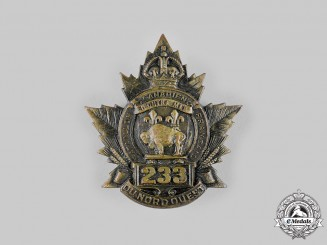 Canada, CEF. A 233rd Infantry Battalion Cap Badge, c.1916