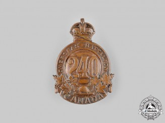 "Canada, CEF. A 240th Infantry Battalion ""Lanark and Renfrew Battalion"" Cap Badge, c.1916"