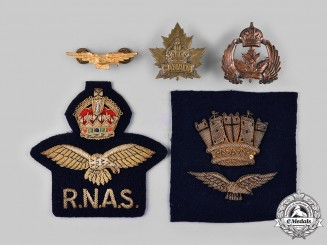 United Kingdom, Canada. Six Royal Canadian Naval Air Service/Royal Naval Air Service Insignia