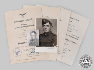 Germany, Luftwaffe. A Lot of Award Documents & Two Studio Portraits of Rupert Sirch