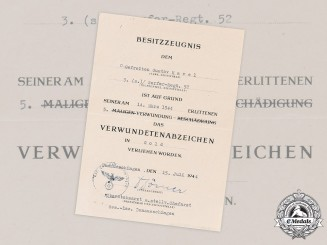 Germany, Heer. A Gold Grade Wound Badge Award Document to Private Gustav Havel