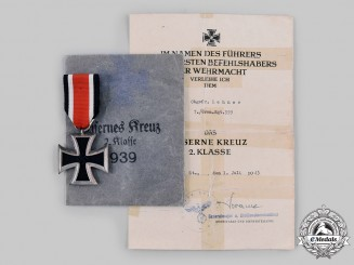 Germany, Heer. A 1939 Iron Cross II Class with Award Document, by Klein and Quenzer