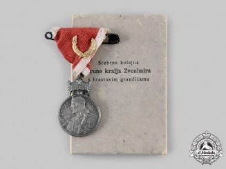Croatia, Independent State. A Silver Medal of the Crown of King Zvonimir with Oakleaves