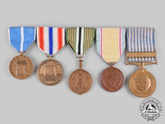 United States. A Lot of Five Korean War Service Medals