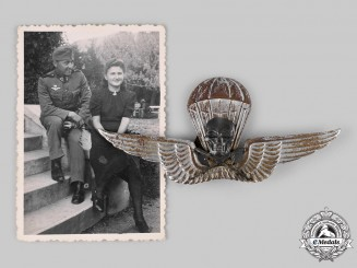 Hungary, Kingdom. A Rare Parachutist Badge with Recipient Photo