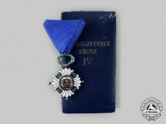 Yugoslavia, Kingdom. An Order of the Crown, IV Class with Case by Huguenin Freres & Co., c. 1935