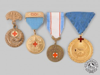 Czechoslovakia, Socialist Republic; Hungary, People's Republic. Four Red Cross Medals