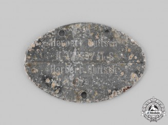 Germany, Kriegsmarine. An Identification Tag to Herbert Quitsch