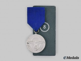 Germany, Ordnungspolizei. A Police Long Service Medal, III Class for 8 Years, with Case