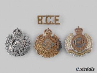 Canada, Dominion. A Lot of Four First & Second War Royal Canadian Engineers Badges